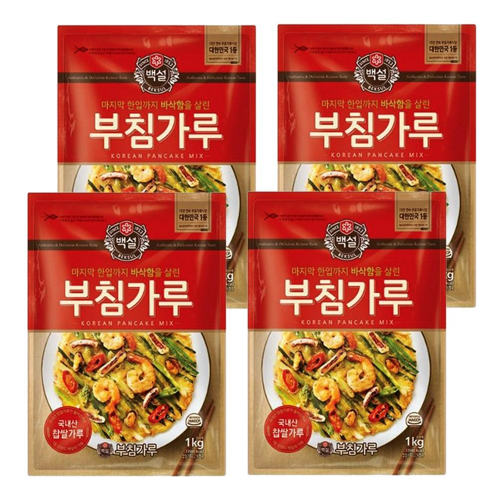 예이니종합물류 CJ 백설 부침가루 4개(1kg*4개)믹스 빵튀김 김치전 찰강력중력박력밀, 1kg, 4개