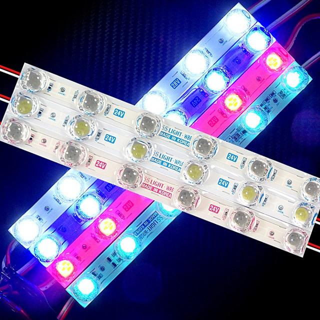 차량무드등 헤드램프 후미등 확산형 볼록렌즈 장착 LED바 6구모듈 - 24V용(1개가격) 차량실내등 자동차전조등 차량용품, 레드