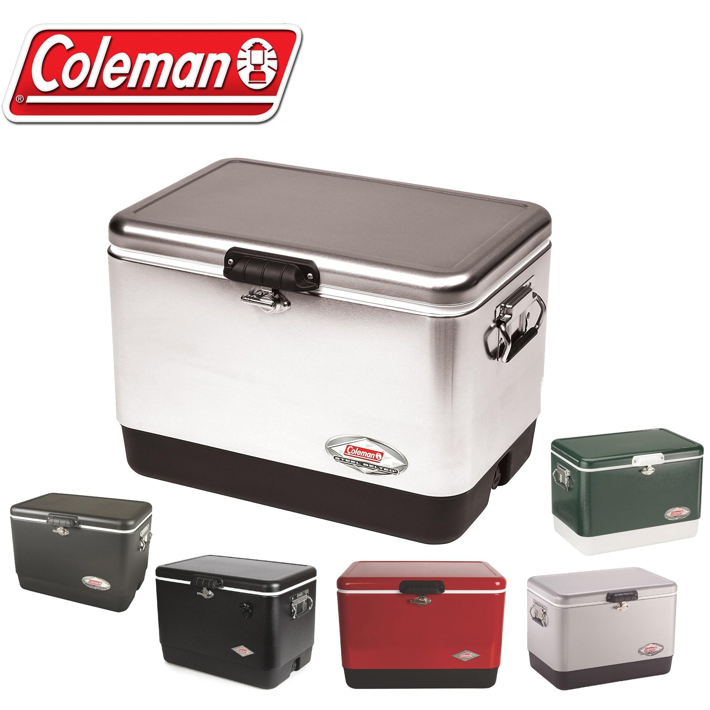 콜맨 아이스박스 54쿼터 스틸-벨트 쿨러 (다양한 색상선택-균일가격), 레드/블랙, 51L