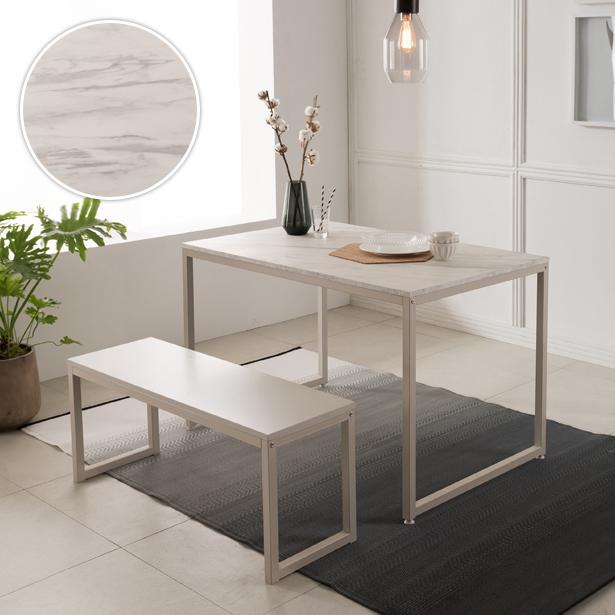 리바트온라인 베이킹 4인 화이트 마블식탁세트(벤치1개)