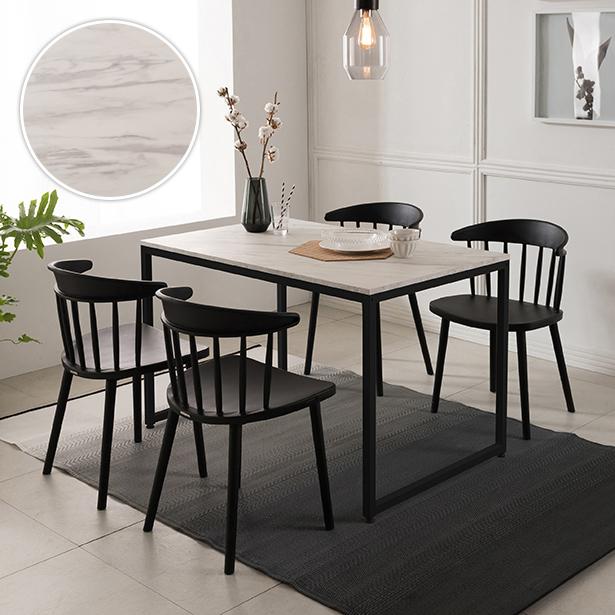 리바트온라인 베이킹 4인 화이트 마블 식탁세트(의자형), 식탁 콤비 + 체어A 블랙