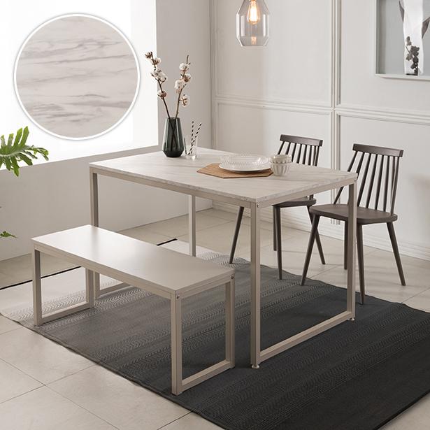 리바트온라인 베이킹 4인 화이트 마블 식탁세트(벤치형), 식탁/벤치 화이트 + 체어A 그레이