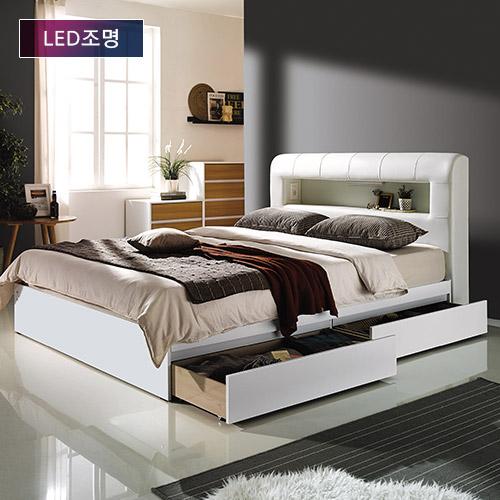하포스 리베라 LED 수납형 프레임 + 9존 독립스프링 화이트 CL라텍스 매트리스 세트