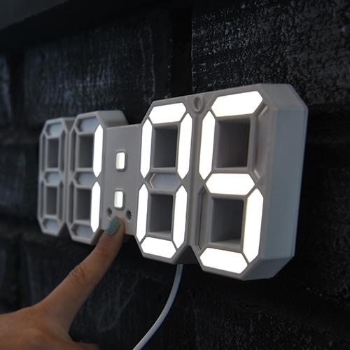 촘스토리 미니 3D LED 시계 23 cm DS-6609, 화이트