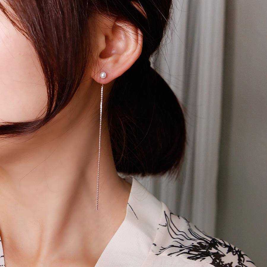 초콜리트쥬얼리 [무배][92.5 silver 은침] 린느 롱 투웨이 드롭 귀걸이