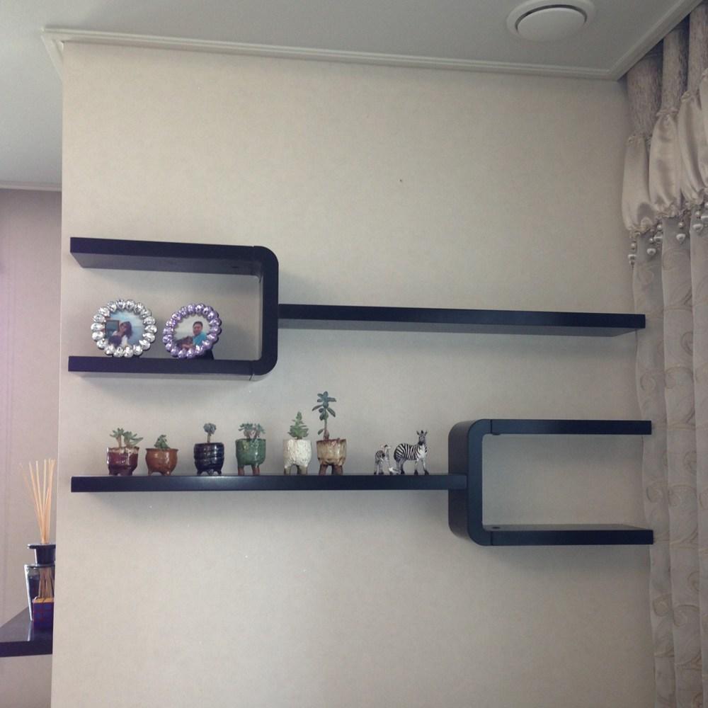 아이린 Y자 곡선 인테리어 무지주 벽걸이 벽선반, 블랙