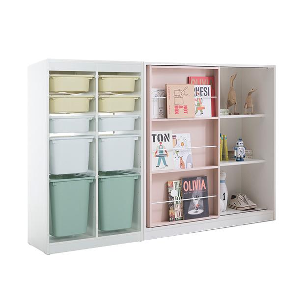 리바트온라인 프렌즈아이 2x5 수납장 옐로우+슬라이딩 핑크책장