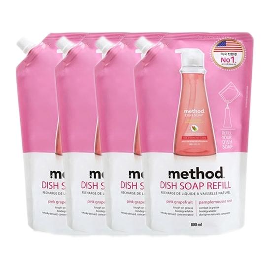 메소드 디쉬 솝 핑크 그레이프후르트 리필, 800ml, 4개