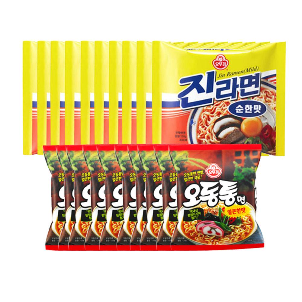 오뚜기 봉지)오뚜기오동통면 10개 + 오뚜기진라면순한맛, 1개
