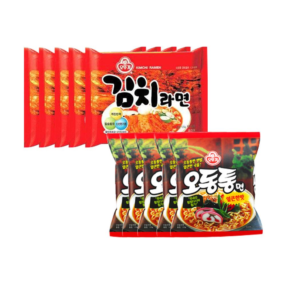 오뚜기 오동통면x5개 +김치라면x5개, 1개