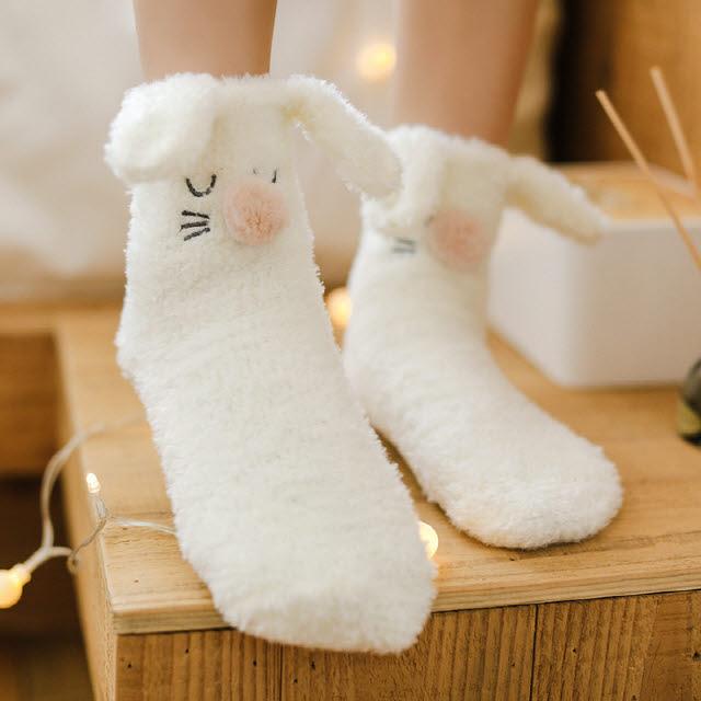 에버라인 핑크 화이트 꿈꾸는 토끼 수면양말 선물용