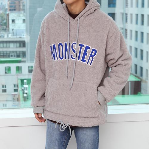 몬스터 자수 양털 후드티셔츠
