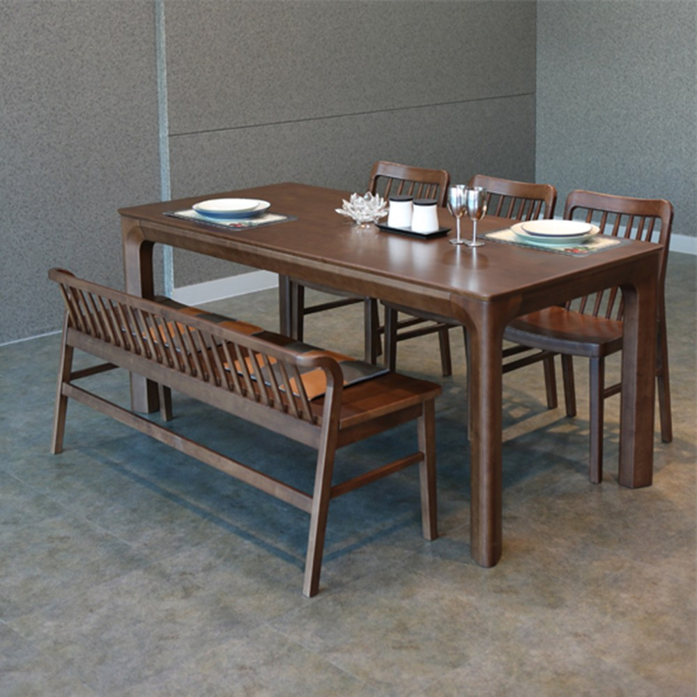 참갤러리 밀레 원목 식탁 세트, 6인 식탁+의자 3개+벤치