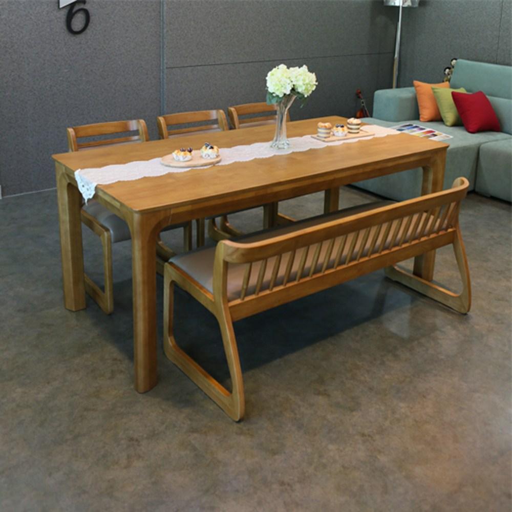 참갤러리 베니스 원목 식탁 세트, 6인 식탁+의자 3개+벤치