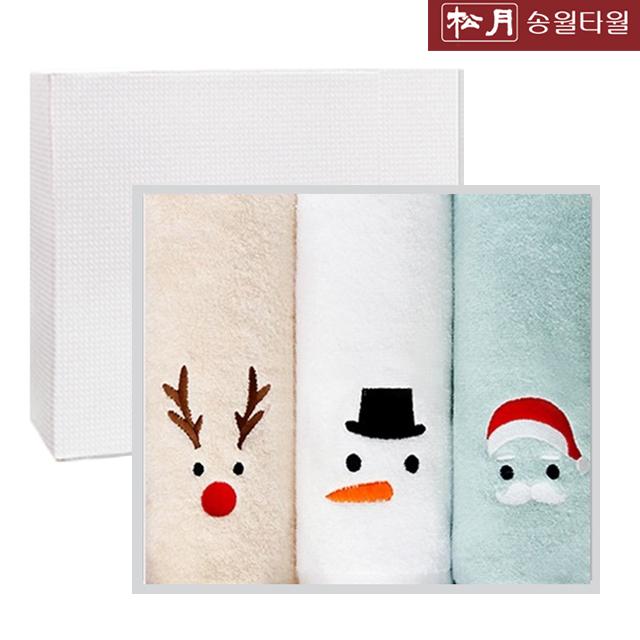 송월타올 해피 크리스마스 타올 기념수건 3매세트 2매세트, 골고루3매세트, 1개