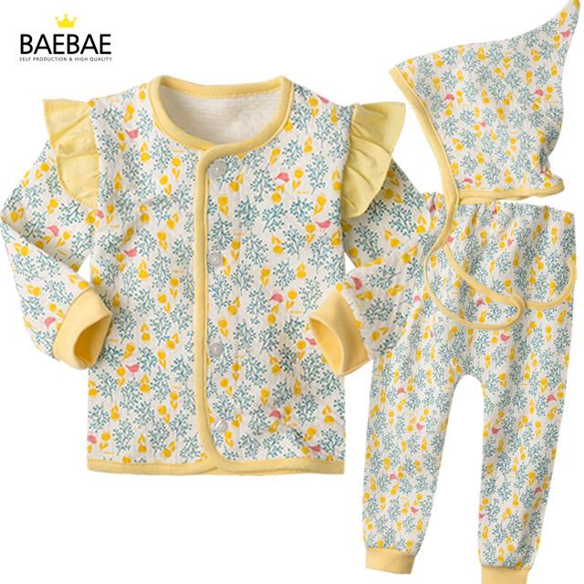BAEBAE 유아 아기 실내복 내의 내복 겨울 상하의세트 프릴트리보온내의(그린)