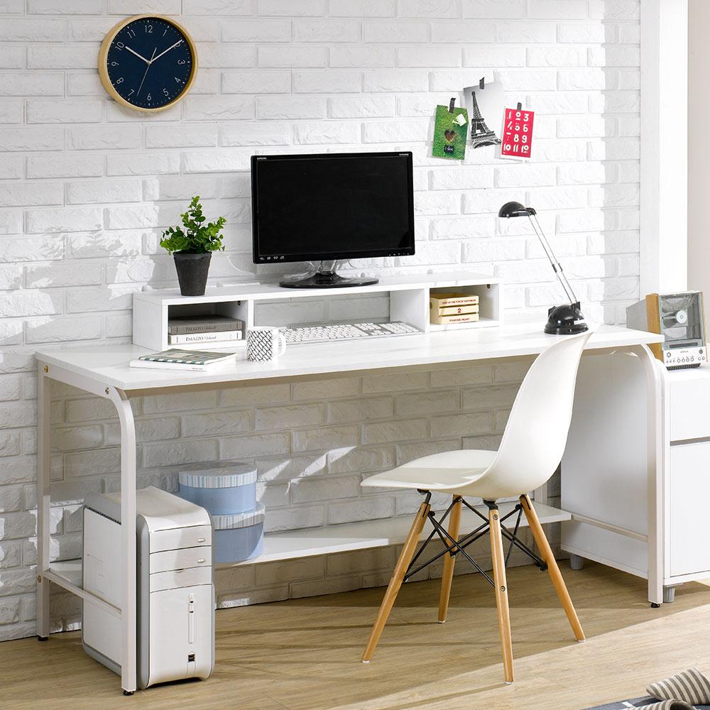 파란들 엑소 스틸 입식 책상 1500 컴퓨터 철제책상, 철재-화이트/상판-화이트