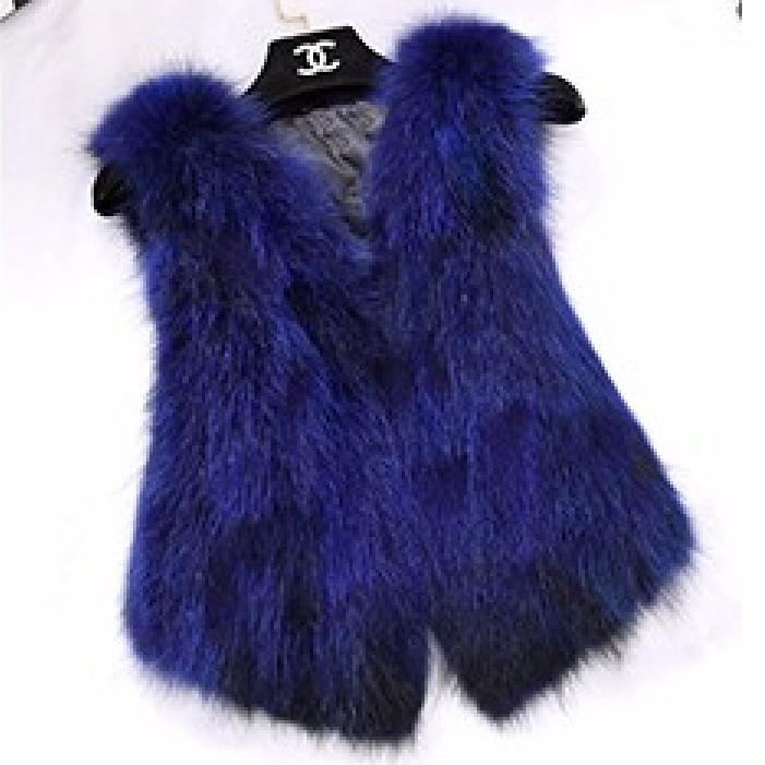 (초특가)유럽산 실버폭스100% 레드 블루 핑크 그린 폭스퍼 숏모피베스트 짧은 여우털모피조끼