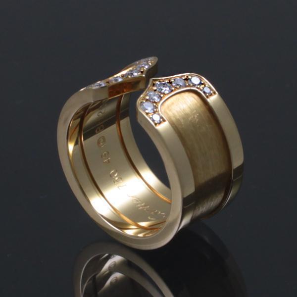 [뉴욕명품] Cartier(까르띠에) 반지 18K 750 골드 14포인트 다이아 더블C 로고 라지 링 (9호)