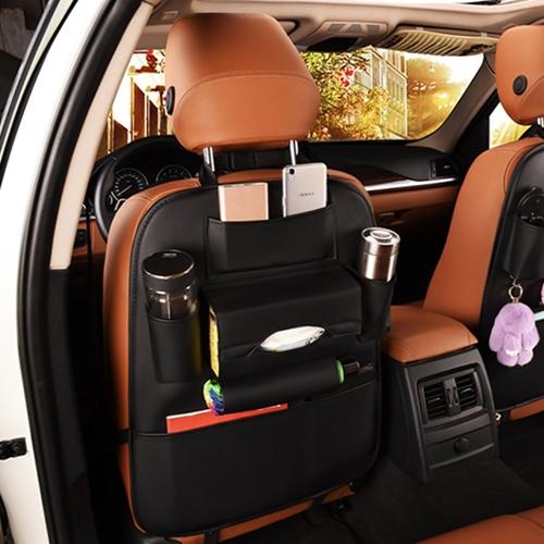 달동네컴퍼니 차량 시트보호 가죽 뒷자석 포켓 킥매트, 블랙, 1개