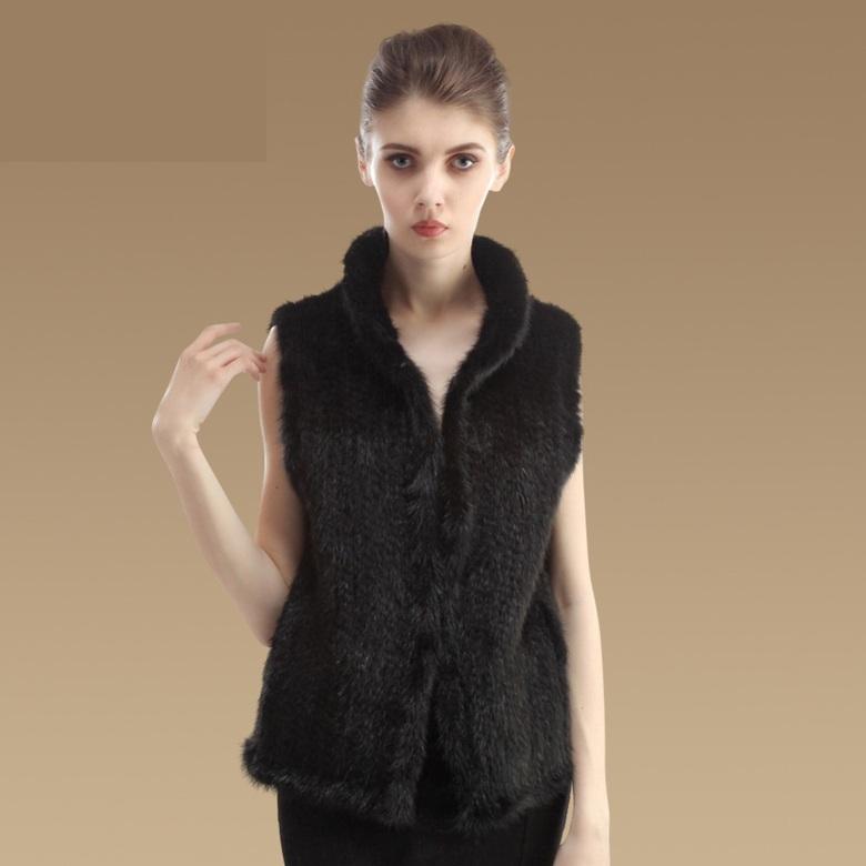 (초특가)천연밍크 숏베스트 여성 퍼베스트 모피조끼 (블랙 브라운)천연밍크100% 밍크베스트 니트밍크조끼 목폴라
