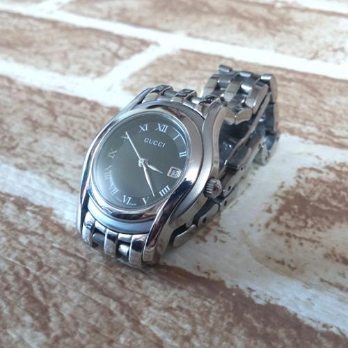 GUCCI 구찌 정품 5500L 블랙 최상급 여성용 손목시계 사파이어글라스
