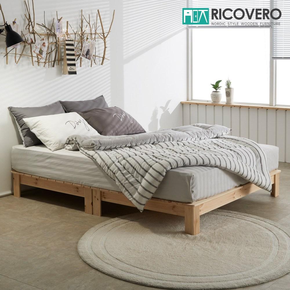 리코베로 보스꼬 소나무원목 평상형 저상 침대 슈퍼싱글, 내추럴