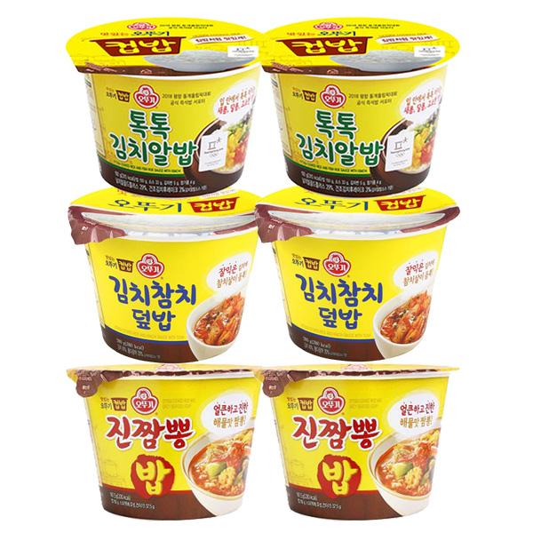 오뚜기 컵밥 톡톡김치알밥x2 + 김치참치덮밥x2 +진짬뽕밥x2 즉석컵밥, 1세트