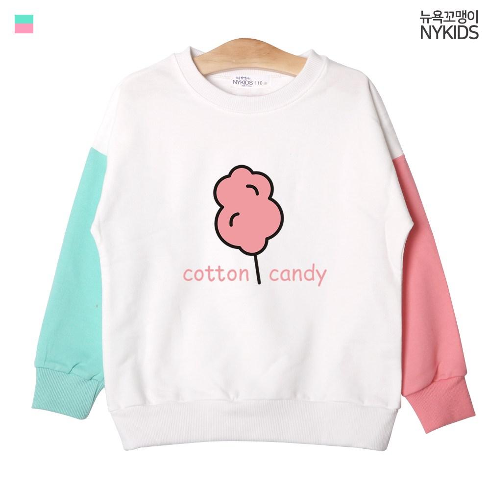뉴욕꼬맹이 코튼캔디 드롭숄더 배색 티셔츠