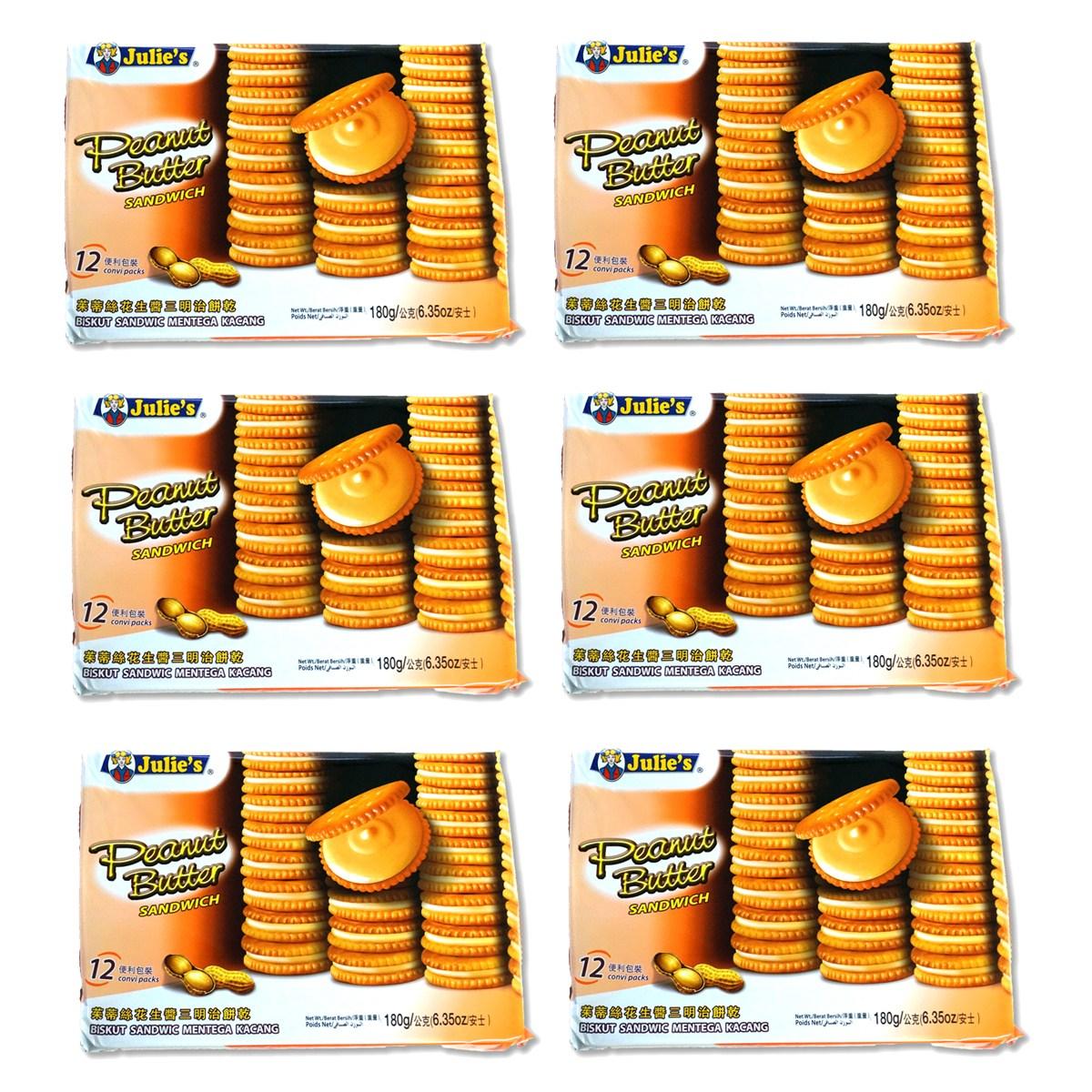 예이니종합물류 줄리스 피넛버터 샌드위치 6개(180g*6개)수입과자 크래커 오예스 곡물, 180g, 6개