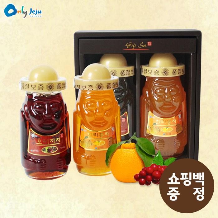 오렌지나무 설 선물준비하르방600g 2종세트한라봉 오미자  유리병상품 1개