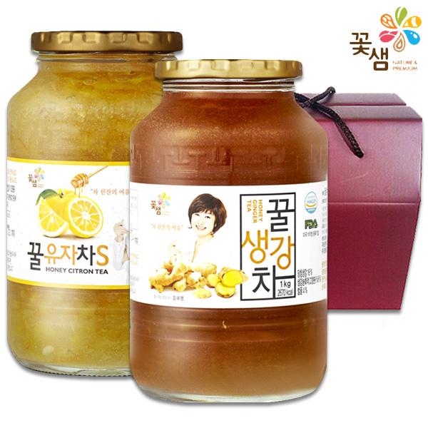 꽃샘 액상차 2종 선물세트A 유자차s1kg생강차1kg 1세트 꿀차2병