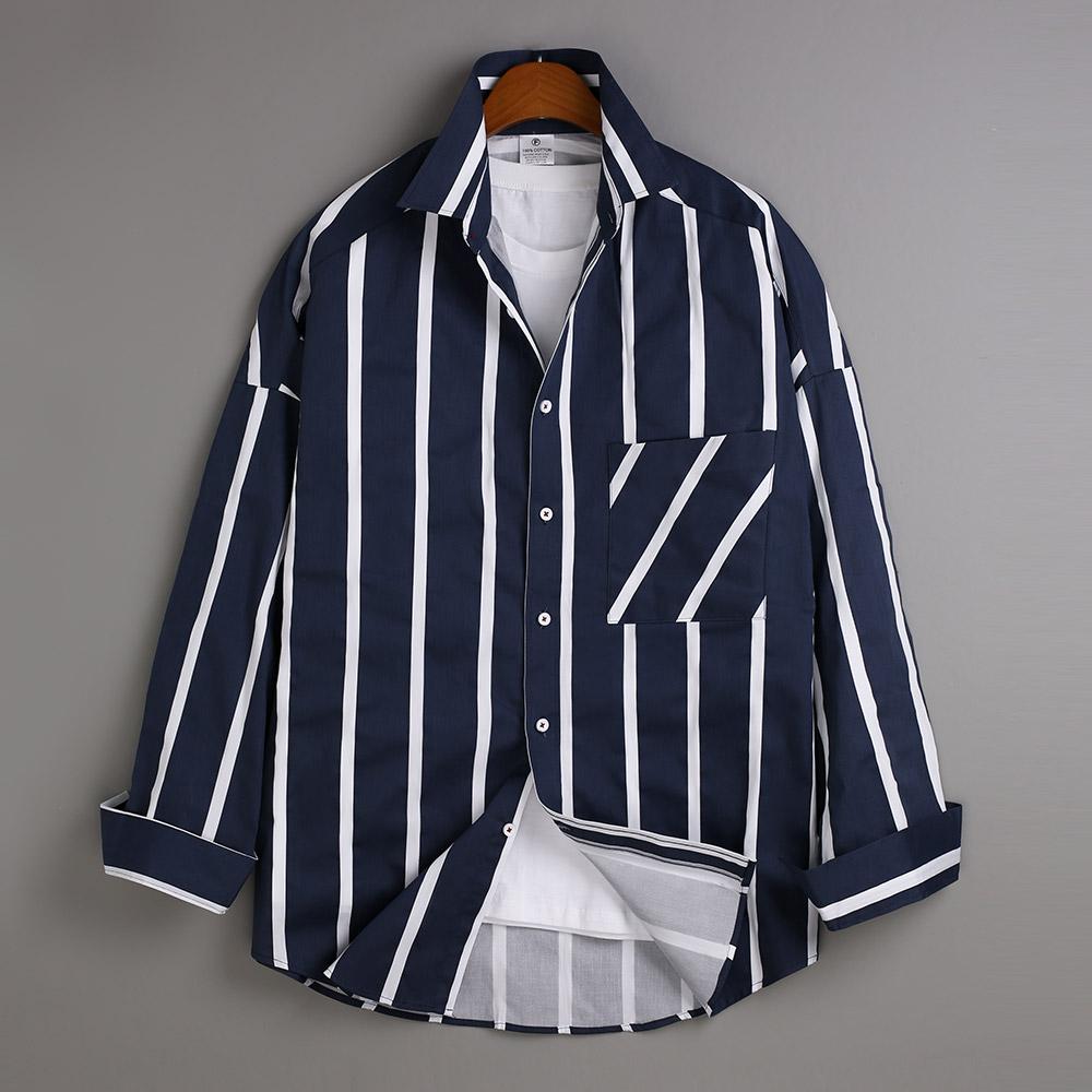 고스트리퍼블릭 남성용 오버핏 스트라이프 포켓 긴팔 셔츠 MSH-531