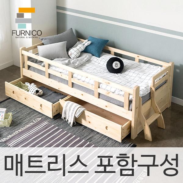 퍼니코 제리코 원목침대(서랍포함+매트리스), 네추럴(싱글)_서랍포함