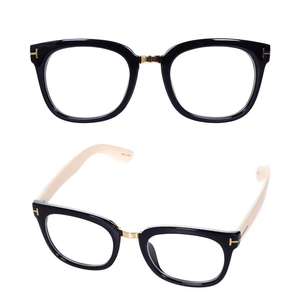 나야스타일 빈티지 메탈 브릿지 블랙아이보리 뿔테 안경