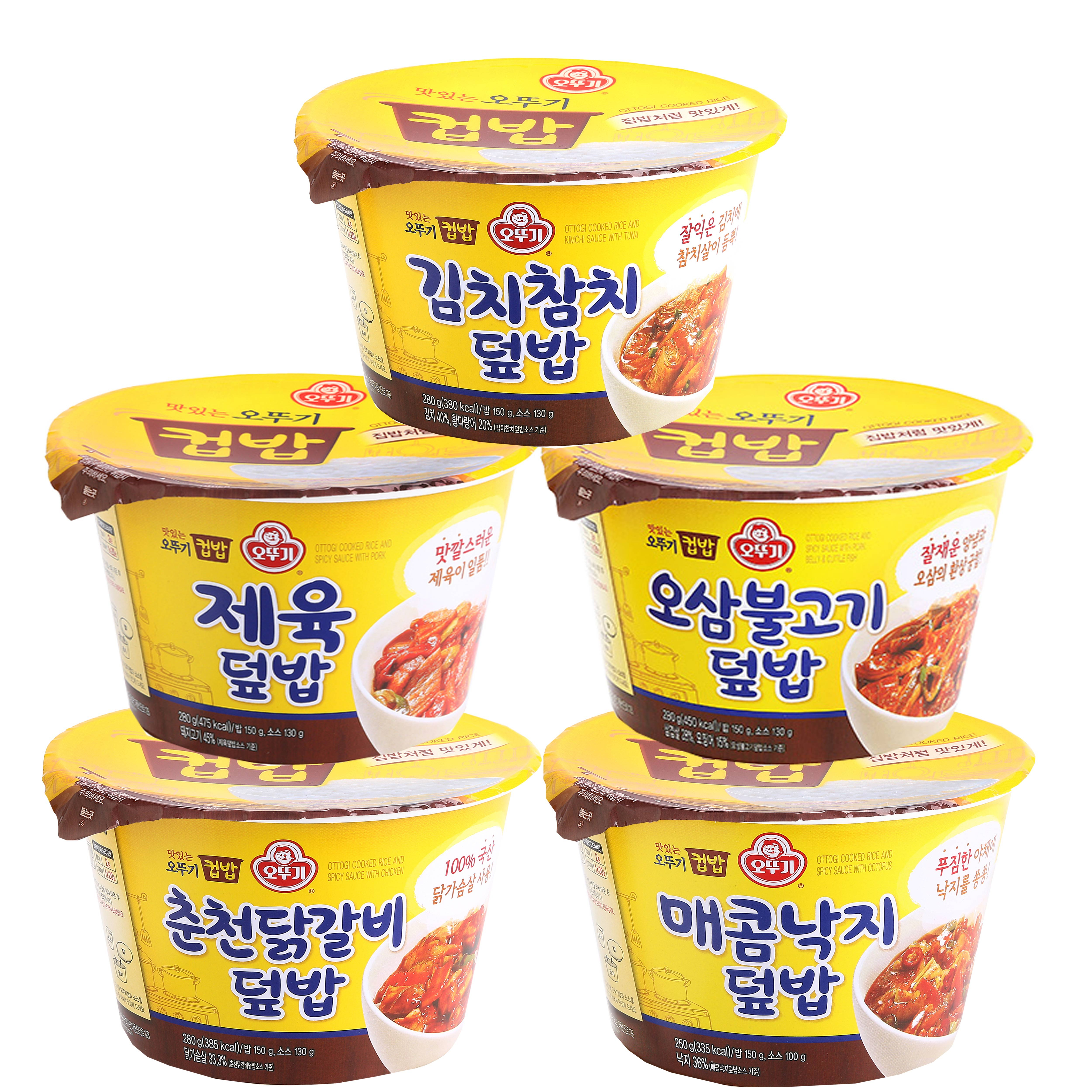 오뚜기 컵밥 5종 세트 (김치참치+제육+오삼불고기+춘천닭갈비+매콤낙지), 1개