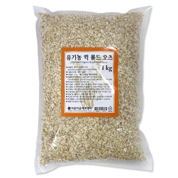기타 유기농 퀵 롤드 오츠(식사용) 1kg 오트밀 오트밀죽 압착귀리 시리얼, 1개