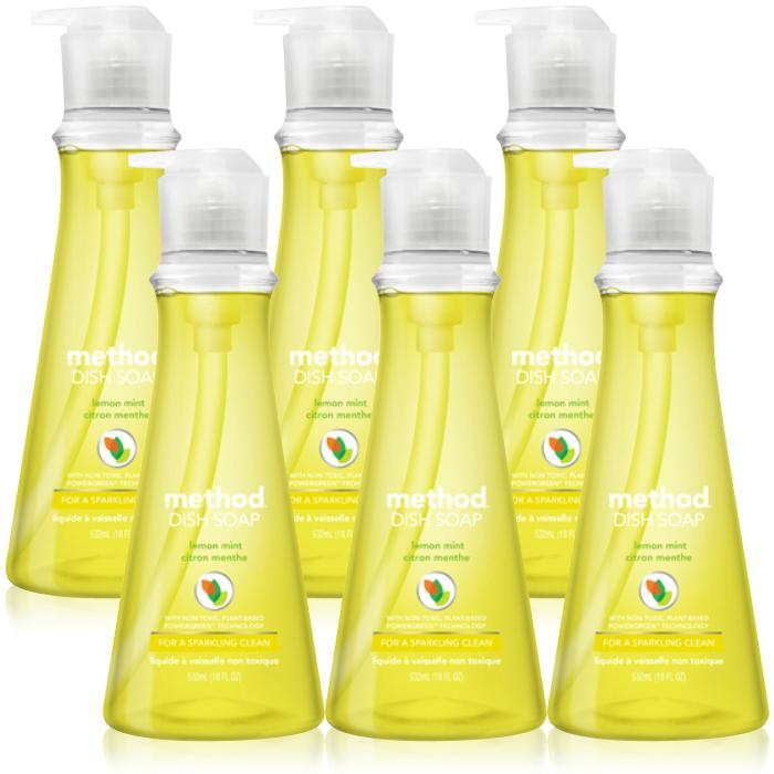 메소드 왕뽀득 주방세제 레몬민트향, 532ml, 6개입