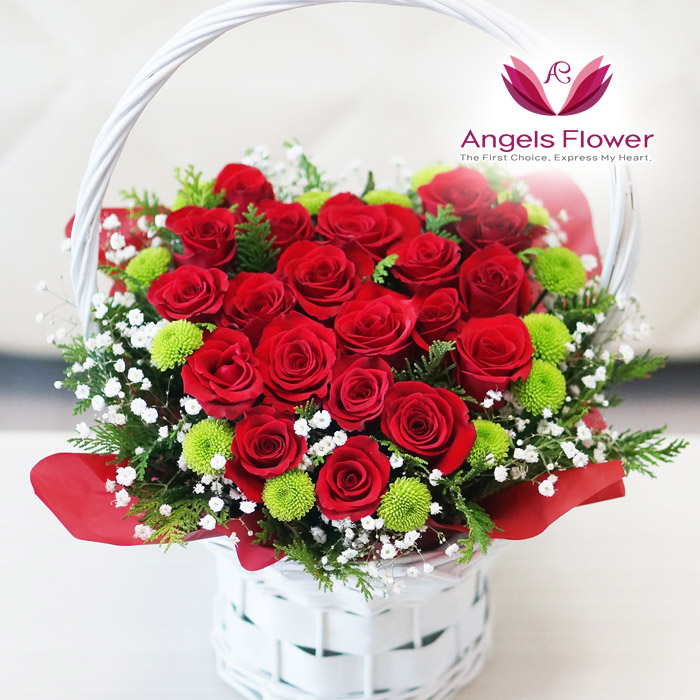 [엔젤스플라워] 마음을 전하는 전국 꽃배달서비스 꽃바구니 꽃다발, F06_장미 한아름 하트(꽃바구니)