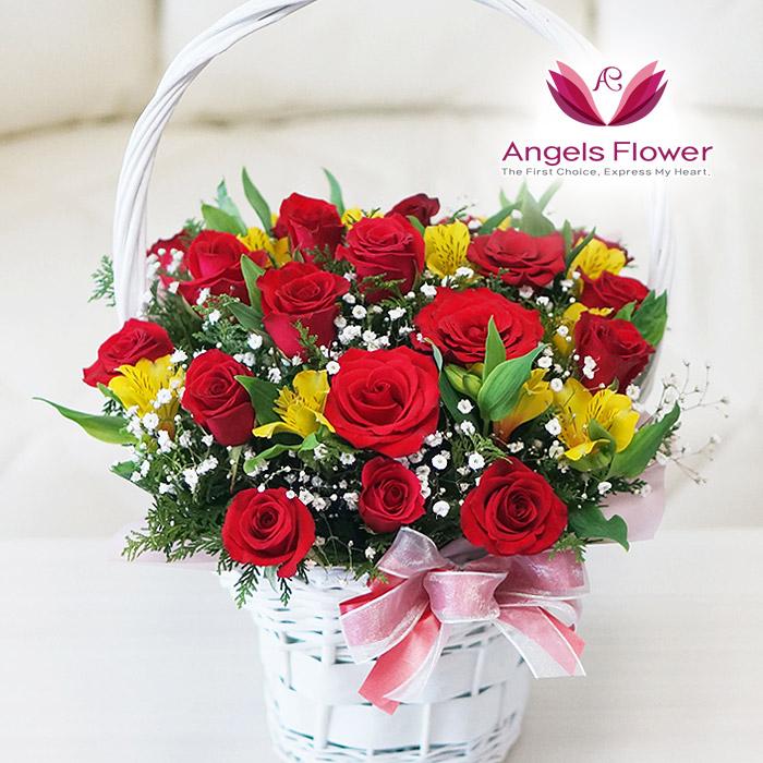 [엔젤스플라워] 마음을 전하는 전국 꽃배달서비스 꽃바구니 꽃다발, F07_장미 한가득(꽃바구니)