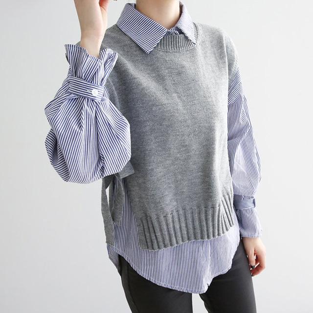 심플리투데이 여성용 봄 스트라이프 셔츠 니트 조끼 세트