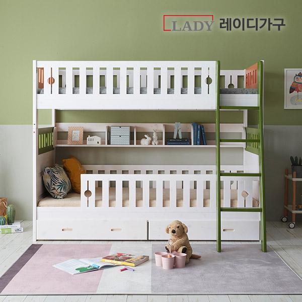 레이디가구 드림 분리형 이층침대 +가드+서랍+책장, 내츄럴