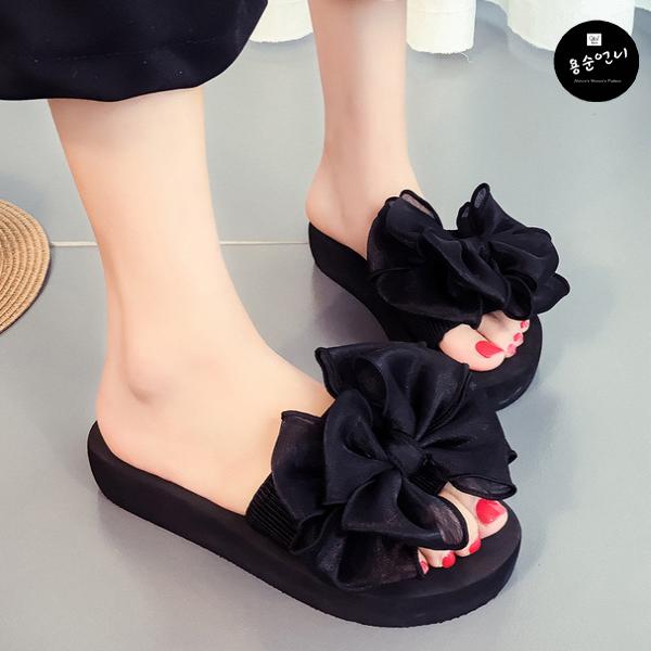 용순언니 왕리본 여성슬리퍼 신발