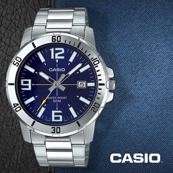 카시오 CASIO MTP-VD01D-2B 남성용 메탈밴드 패션시계