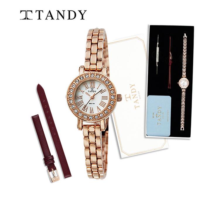 탠디 TANDY 여성용 메탈시계 4017 로즈골드 (가죽밴드+교체공구포함)-탠디 쇼핑백 증정