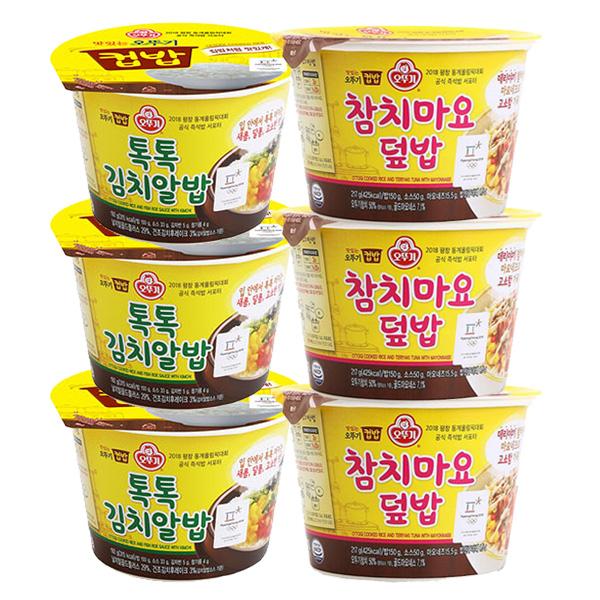 오뚜기 컵밥 톡톡김치알밥 x 3p + 참치마요덮밥 x3p 즉석컵밥, 1세트