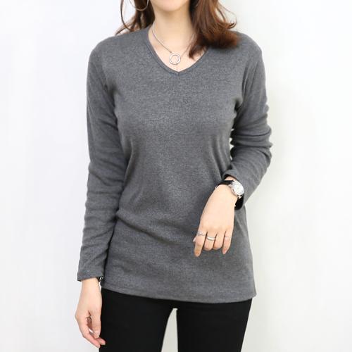 아주미 여성용 브이넥 골지 긴팔 티셔츠