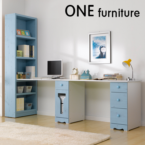 원퍼니처 해피클래스 1인용 2인용 H형865책상풀세트 책상서랍, 블루워시, 블루워시
