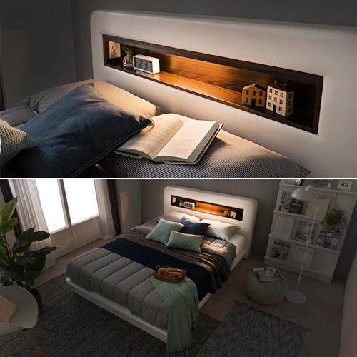 가구야 퀸 515 평상형 LED 침대, 화이트(프레임 + 7존포켓 매트리스)