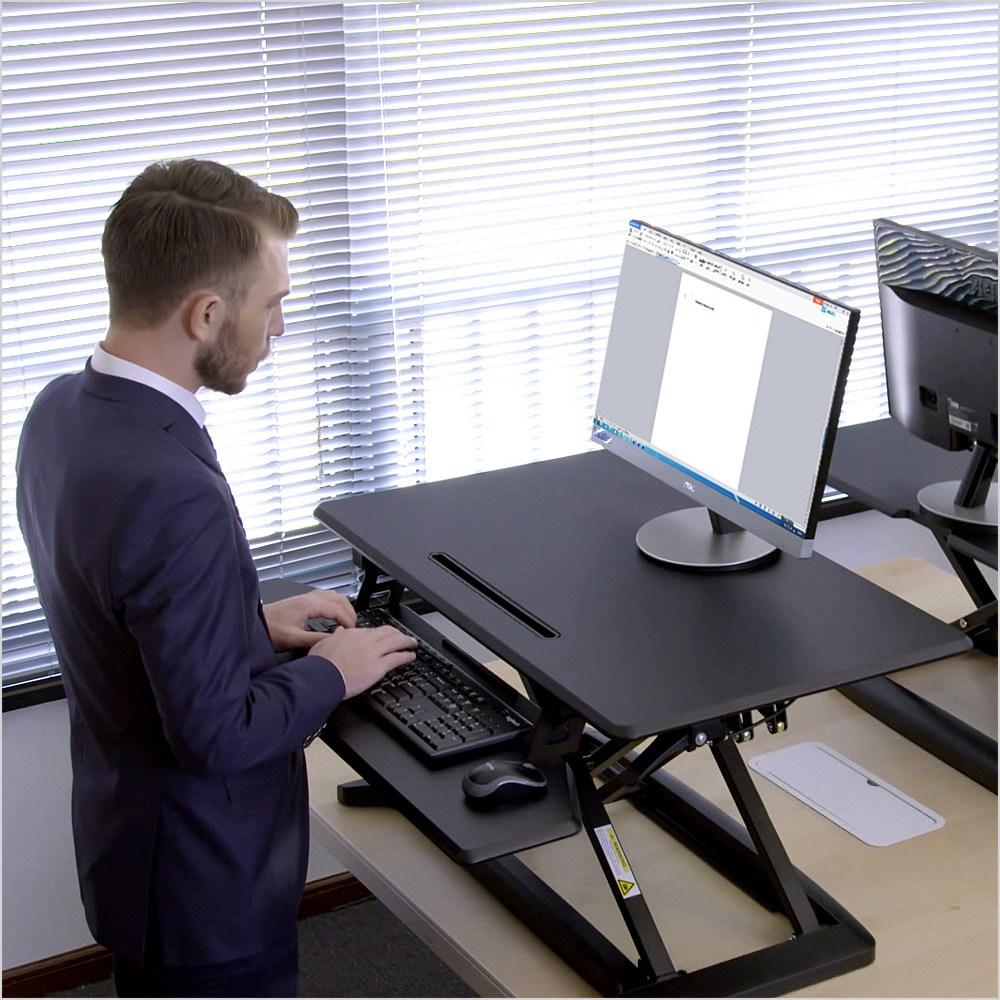 스파인데스크 높이조절 책상 스탠딩책상, Y5-블랙